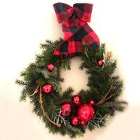 체크리본리스(check ribbon wreath)